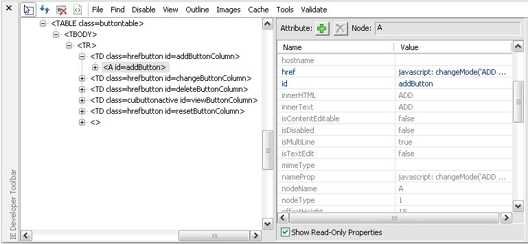 IE Dev Toolbar properties